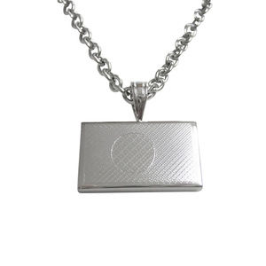 Silver Toned Etched Bangladesh Flag Unisex Necklac
